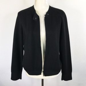 Eileen Fisher Zip Sweater Jacket Black Size Large